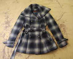 MISS 60 SIXTY BLUE PLAID BELTED PLEATED SKIRTED WOOL PEA COAT JACKET S 2 4 SMALL #MISSSIXTY #BasicJacket
