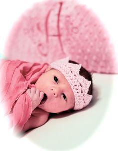 Pink Crochet Princess Crown Newborn baby by MyLittleEmmaLou, $8.00
