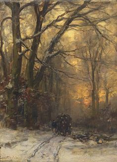 Passing through a forest in winter, Louis Apol. Dutch (1850 - 1936). Tumblr