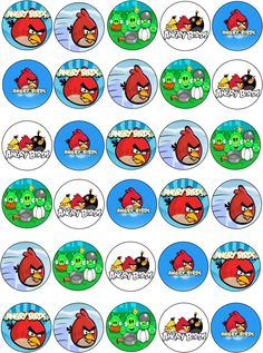 30 X Angry Birds Edible Cupcake Toppers - Thick Premium Wafer Rice Paper 121.