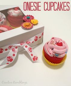 Creative Ramblings | Onesie Cupcake Gift Easy Video Tutorial | http://www.creativeramblingsblog.com