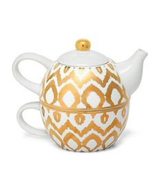 Ikat Tea for One Set Keep this stylish tea set on her desk or in her favorite reading nook for a relaxing treat at any time.  To buy: $38, cwonder.com.