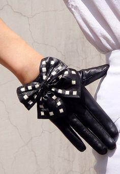 Real Leather Short Gloves - Black with White Stripe - Sheepskin Lambskin - Women - Lady Gaga Rock Bows - Handmade