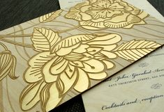 laser cut wood with gold foil
