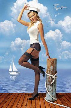 sailor girl, background, pinup girl, pinup card, ms sailor, sailor pinup