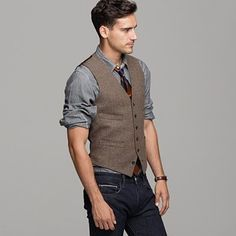 Tie Excuses mens fashion jeans and dress shirtdress shirt vest tie jeans Mens fashion Vest Outfits, Fall Outfits, Simple Outfits, Gilet Jeans, Tweed Vest, Tweed Suits, Mode Man, Herringbone Vest, Vest And Tie