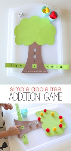 A simple homemade apple tree addition game for kids.