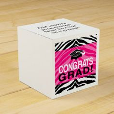 Hot Pink Zebra Congrats Girl's Graduation Party Favor Box, Custom Printed #classof2014 #graduation #gradparty @Zazzle Inc.