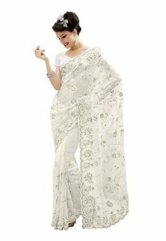 Fabdeal Indian Designer Faux Georgette White Embroidered Saree Fabdeal, http://www.amazon.de/dp/B00IRB9QRM/ref=cm_sw_r_pi_dp_5l7otb0EDPAAJ