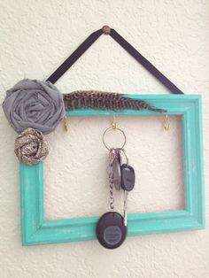 Beautiful decorated frame as a key holder - 20 DIY Creative Key Holders