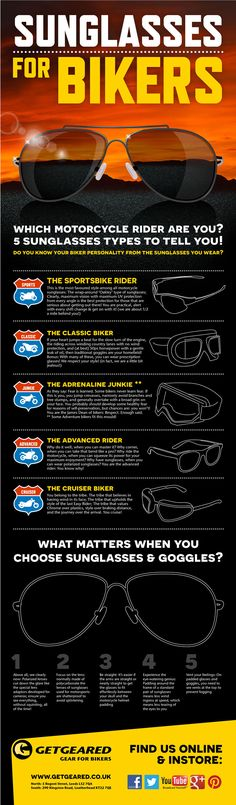 Sunglasses for bikers: Which motorcycle rider are you? Read our infographic to find out what matters when you choose sunglasses and goggles. http://www.getgeared.co.uk/sunglasses-for-bikers