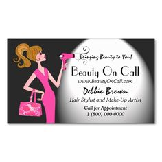 Beauty for Celebrities! Business Cards. Make your own business card with this great design. All you need is to add your info to this template. Click the image to try it out!