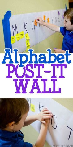 Alphabet Post-It Wall: an easy literacy activity for toddlers and preschoolers; quick and easy indoor activity; alphabet activity