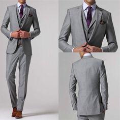 Custom Made Gray Men Suits Wedding Tuxedos Groomsmen Suit Jacket Pants Tie Vest #perfectevening #TwoButton