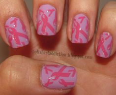 Breast Cancer Awareness nail art via Polish Art Addiction check out www.ThePolishObsessed.com for more nail art ideas.