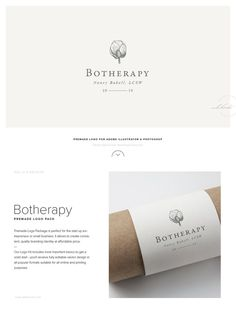 Herbal Logo Design �� Botherapy by Mlekoshi Design Concept on @creativemarket Creative logo design inspiration, perfect for a modern business branding with perfect font and typography selection. Take some ideas or use this feminine, elegant, minimal, simpl
