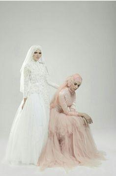 A Muslim bride by ria miranda Muslimah Wedding Dress, Hijab Bride, Muslim Fashion, Hijab Fashion, Bridal Dresses, Wedding Inspiration, Design Inspiration, Bridesmaid, Hijab Ideas