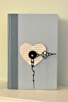 Book Clock - 7 Creative Things to do with Old Books ... [ more at http://diy.allwomenstalk.com ] Think that your old book is out of date? Well you can help it keep up with the times by turning it into this gorgeous clock! This is such a cute design that I want to try this one too! What you'll need is a hardcover book, clock movement, a knife, glue, scissors, and a clock battery. Doesn't sound too hard so far right? From here, you'll need to holl... #Diy #Sculptures #Books #Old #Shelves…
