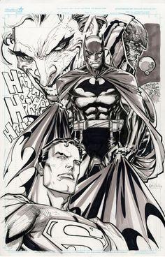 Joker, Darksied, Batman & Superman by Ken Lashley (DC comics) Comic Book Drawing, Batman Drawing, Drawing Superheroes, Batman Artwork, Joker Comic, Batman Comic Books, Batman Comics, Comic Books Art, Batman Love