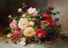 Eugene Henri Cauchois - A Bouquet of Roses