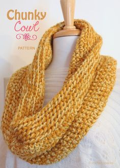 Crafted Spaces Chunky Crochet Cowl Pattern -- Love the colors! Maybe use a dark gold/orange yarn with a bright yellow floss