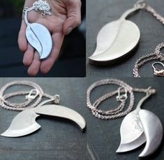 The soul is bone — Silver leaf pocket knife necklace by contrary on. Pretty Knives, Cool Knives, Hidden Weapons, Leaf Pendant, Couple Gifts, Dog Tag Necklace, Necklace Chain, Leaf Necklace, Necklaces