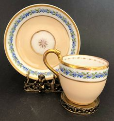 Antique Biedermeier coffee cup and saucer set, Schlaggenwald, Circa Tea Cup Set, My Cup Of Tea, Cup And Saucer Set, Tea Cup Saucer, Vintage Dishes, Vintage Tea, Cup And Saucer Crafts, Coffee Cups And Saucers, Chocolate Cups