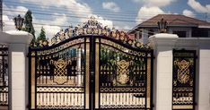 50 The Best Gate Design That You Have to Try in Your Home - decortip Gate Wall Design, Home Gate Design, Grill Gate Design, House Main Gates Design, Front Gate Design, House Front Design, Front Gates, Entrance Gates, House Entrance
