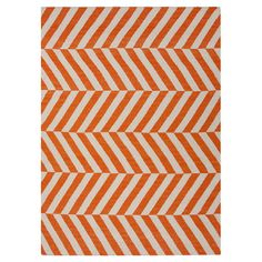Handmade wool flatweave rug with a orange stripe motif.   Product: RugConstruction Material: 100% Wool