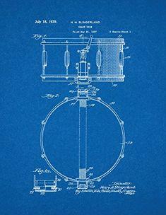 Vintage Drum Kit Patent Print - 1959 Set on a vintage Grey ...