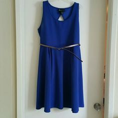 Royal Blue Lane Bryant knee length  dress w/belt 100% polyester, very comfortable. Worn only one time. Comes with belt. Sleeveless knee length dress. Lane Bryant Dresses