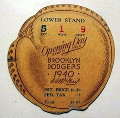 Opening Day 1940 Baseball Tickets, Baseball Art, Dodgers Baseball, Baseball Players, Baseball Field, Vintage Prints, Vintage Designs, Dodgers Party, Doggy House