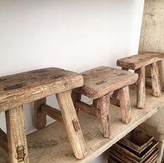Small rustic wooden stools | wabi sabi