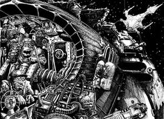 I based the cockpit controls in the Ork ship on those seen in old pulp magazines by artists such as Elliot Dold and Ed Emshwiller or seen in the early Flash Gordon / Buck Rogers serials. Battlefleet Gothic, Different Races, Warhammer Models, Warhammer 40k Miniatures, Pulp Magazine, Game Workshop, Military Art, Art Studies, Ink Art