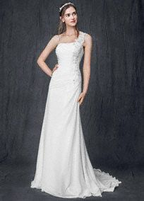David's Bridal Collection - Destination Wedding dress. One shoulder bodice features elegantsoft chiffon ruching.  Breathtaking floral beaded appliques are ultra feminineand eye-catching.