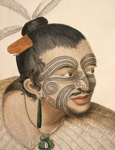 Maori chief drawn by Parkinson Sydney - the artist on Capt. Cook's 1769 voyage.