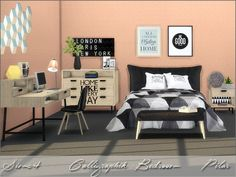 SimControl: Calligraphik bedroom by Pilar • Sims 4 Downloads