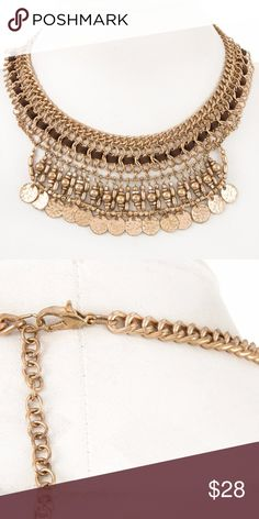 """Woven Chain Necklace Woven Cord Chain Coin Dangle Collar Necklace  Approx Length: 12""""  CA Lead and Nickel Compliant Product Color: Burnished Gold Jewelry Necklaces"""