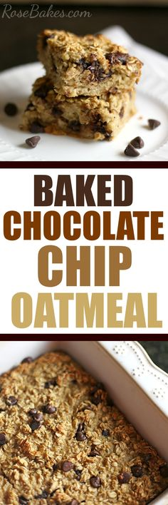Baked Chocolate Chip Oatmeal by RoseBakes.com.  @Quaker #Oatober #IC (ad) Recipe here --> http://rosebakes.com/baked-chocolate-chip-oatmeal/