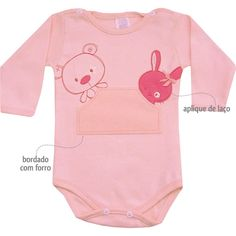 Body Feminino para Bebê Ursinha Rosa - Patimini :: 764 Kids | Roupa bebê e infantil