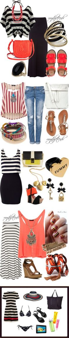 """""""Summer Stripes"""" by mystyletrends on Polyvore"""