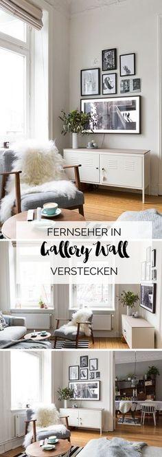 Auf dem Blog: Wie versteckt man den Fernseher im Wohnzimmer an der Wand? Ich zeige, wie es mir gelungen ist. Mehr Fotos auf elbmadame.de #tv #gallerywall #altbau #hamburg #wohnzimmer