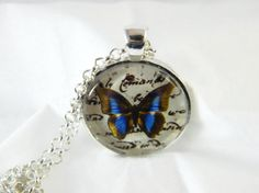 Pendant Necklace  Butterfly Glass Art Pendant   by MyPaisleyMarie, $8.00