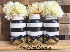 Black, white, and gold mason jar. Centerpieces. Party decor by FooFooFancy on Etsy https://www.etsy.com/listing/458274032/black-white-and-gold-mason-jar