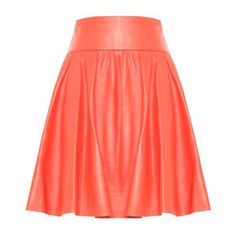 alice + olivia Luann Leather Wide Waistband Flare Skirt ($265) ❤ liked on Polyvore featuring skirts, bottoms, alice olivia skirt, leather circle skirt, leather skater skirt, circle skirt and flared skirt