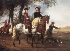 "Aelbert Cuyp (1620-1691) ""Landscape with Sportsmen setting out for the Hunt"" Circa 1650 Oil on Canvas"