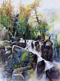 """""""Eagle Fall - Lake Tahoe"""" by Lian Quan Zhen  -  watercolor"""