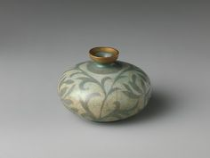 """Oil bottle decorated with peony leaves, late 12th century.  Goryeo dynasty (918–1392). Korea. The Metropolitan Museum of Art, New York. Rogers Fund, 1917(17.175.9) 