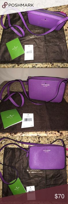 Authentic kate spade Mikas Pond Clover crossbody Authentic kate spade crossbody (Mikas Pond Clover in African Violet color). 5''h x 7''w x 2''d. drop length: 22''. soft, smooth, cowhide with matching trim. 14-karat light gold plated hardware. custom woven quick & curious lining. cross-body bag; zipper closure. 4 interior credit card slots. Rarely used. Comes with dustbag (stored in dustbag)! Last picture is for display only! kate spade Bags Crossbody Bags