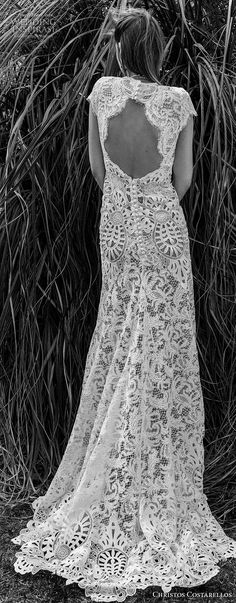 christos costarellos spring 2018 bridal cap sleeves illusion jewel deep v neck full embellishment elegant bohemian modified a line wedding dress keyhole back sweep train bv Big Sur Wedding, Wedding Hair Down, Mod Wedding, Wedding Bells, Wedding Day, Bridal Looks, Bridal Style, Wedding Dresses 2018, Glamour